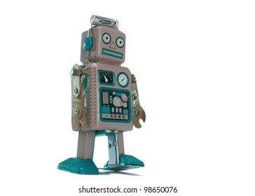 Vintage toy robot isolated on white background