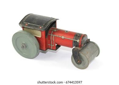 Vintage Toy Steamroller on White Background