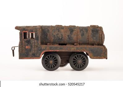 Vintage toy train on white background