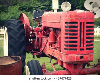Vintage tractor in the farm