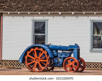 Vintage Tractor With Iron Tread Wheels