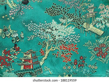 Vintage traditional oriental silk embroidery for textural background.