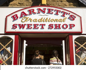 vintage traditional sweet shop at The National Tramway Museum,Crich,Derbyshire,UK. taken 06/04/2015