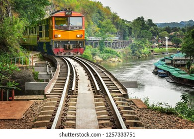vintage train on bridge of the river kwai, kanchanaburi, Thailand.