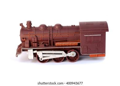 vintage train toy on white background