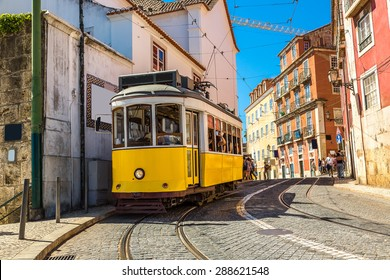 Vintage tram in the city center of Lisbon, Portugal