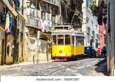 Vintage tram in the city center of Lisbon, Portugal in a summer day