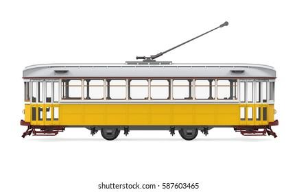 Vintage Tram Isolated. 3D rendering