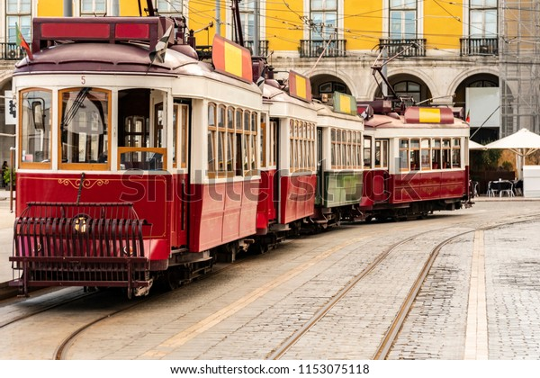 Vintage tram in Lisbon, Portugal in a summer day.