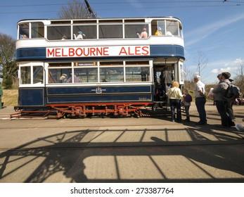 A vintage tram at the National Tramway Museum,Crich,Derbyshire,UK.taken 05/04/2015