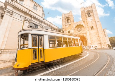 Vintage Tram transportation in Lisbon city Portugal