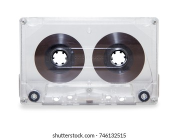 vintage transparent audio cassette tape isolated over white