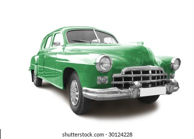vintage transport retro car isolated on white