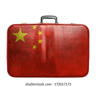 Vintage travel bag with flag of China