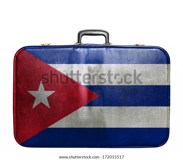 Vintage travel bag with flag of Cuba