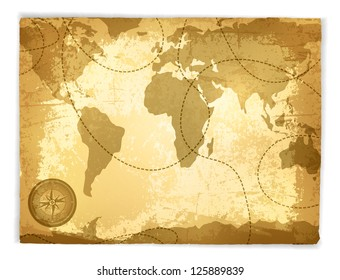 Vintage Travel Manuscript With Map and Compass Over White Background