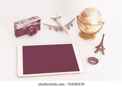 Vintage travel object with blank tablet screen