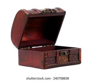 vintage treasure chest closeup on white
