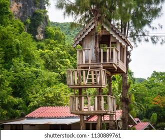 Vintage Treehouse On Green Mountain Background