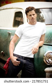 Vintage Truck with Good Looking guy leaning against it