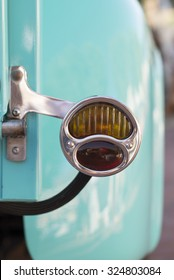 vintage truck taillight, shallow depth of field