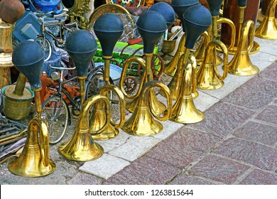 Vintage trumpets at the flea market near Monastiraki in Athens