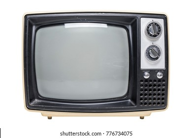 A vintage tube television with a black screen isolated on a white background.