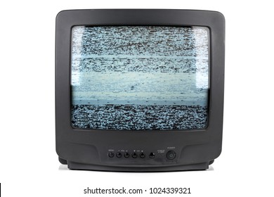 A vintage tube television with a static glitch texture displayed on the screen.