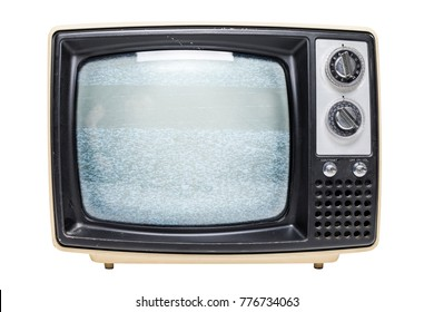 A vintage tube television with static video feedback on the screen isolated on a white background.