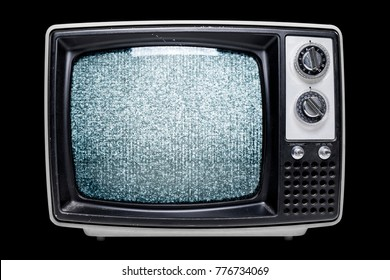 A vintage tube television with a video glitch filling the screen isolated on a black background.