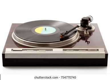 Vintage Turntable on white background