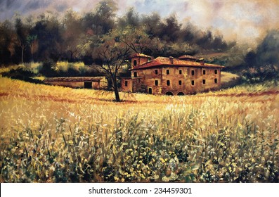 Vintage Tuscan manor painting