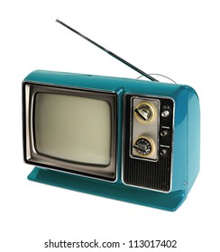 Vintage TV with antenna isolated over white background - With clipping path