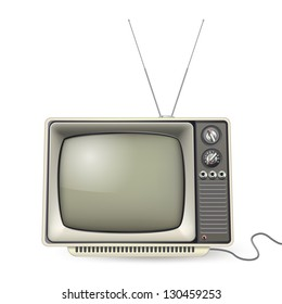 vintage TV with antenna and wire
