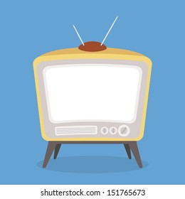vintage tv brown color isolated