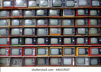 vintage TV is colorful multi-row. Seeing the past