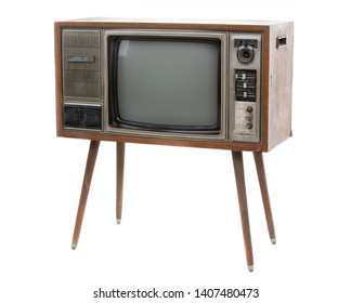 Vintage TV : old retro TV set isolated on white background.