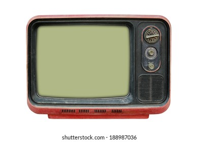 Vintage TV on the isolated white