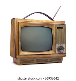 Vintage TV over a white background