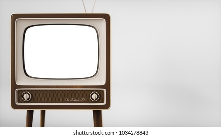 Vintage TV receiver with empty screen on white background 3d rendering
