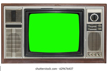 Vintage TV Screen Clipping path green Background