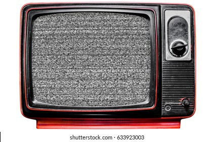 Vintage TV Screen Clipping path, isolated on white background