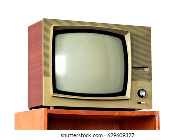 Vintage TV set on a stand isolated over white background