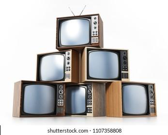 Vintage TV stack isolated on white background. 3D illustration.
