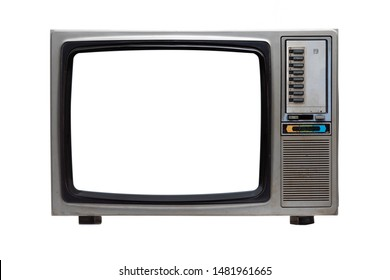 Vintage TV with white blank screen isolated on white background .