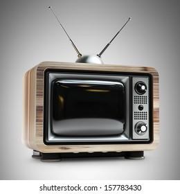 vintage TV in wooden case. high resolution 3d render