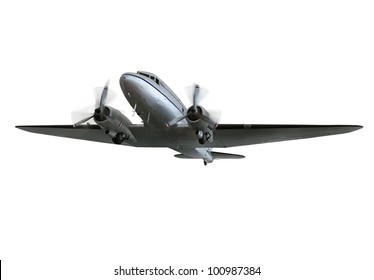 Vintage twin prop cargo plane isolated front and left side view with spinning propellers./ Vintage Airliner/Cargo Plane, isolated / Beautiful vintage plane, a great way to fly!