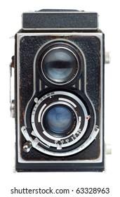 Vintage twin reflex camera on a white background