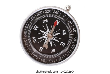 Vintage type silver compass with needle pointing North isolated on white background