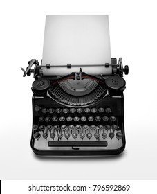 Vintage typewriter against white background. Low key edition of an ancient typewriter to give prominence to the space for text at the white page. Clipping path on typewriter
